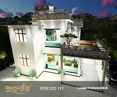 3D Two Story House Plan with open contemporary floor plans by Architect in Colombo Sri Lanka
