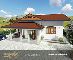 Architect in Kandy Designed single Story Home plan with its eye-catching stone and glass façade