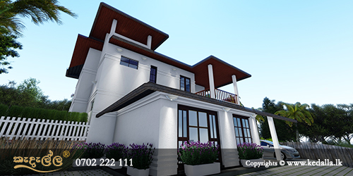 Large home favours entrance, living and in L-shapes designed by draughtsman in kandy, sri lanka