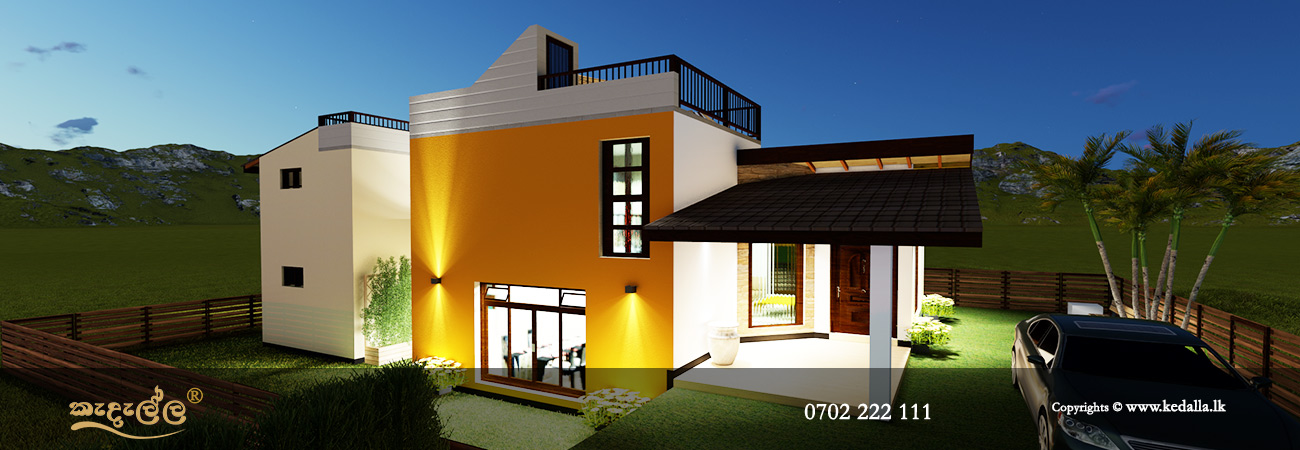 Two story home plans in Sri Lanka with spacious open plan ground floor hall/Living spaces