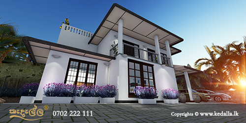 Ascending levels house front elevation with two floors done by House designer in Kandy Sri lanka