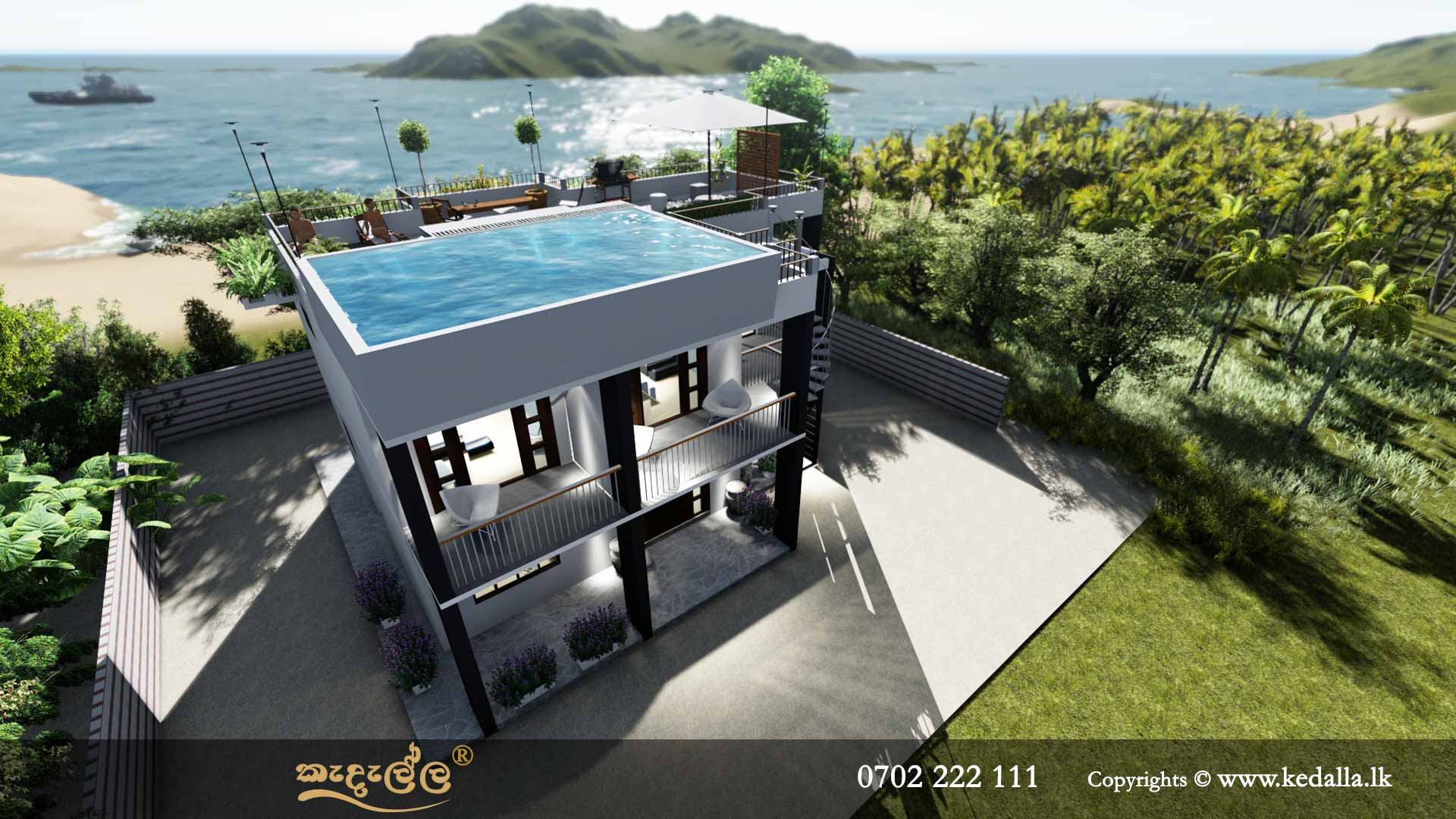 Two Story House Plans with annex and swimming pool on terrace/pool terrace in Sri Lanka
