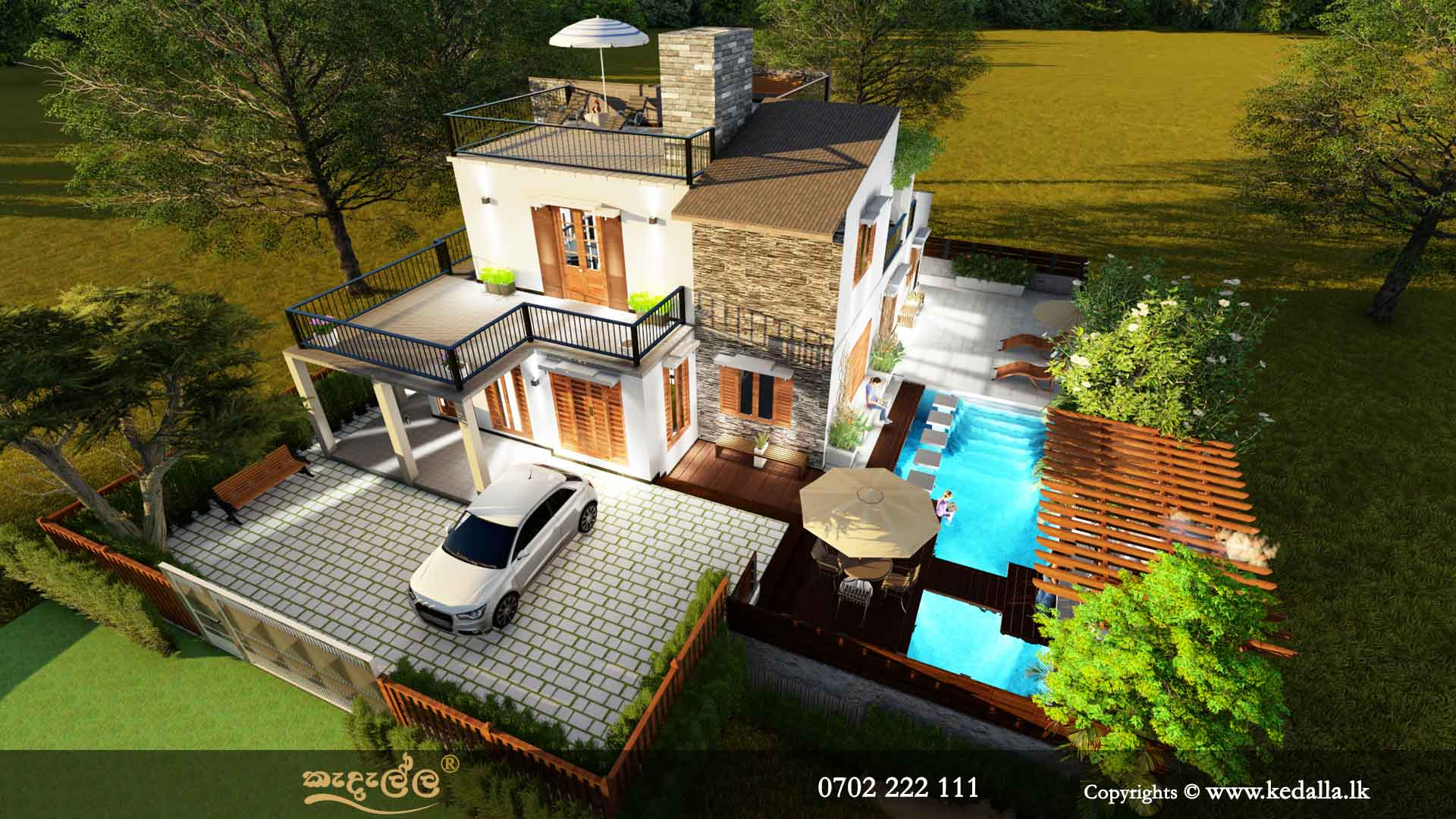 Architects in Kandy designed two story house with roof/terrace.Best home plans in Sri Lanka