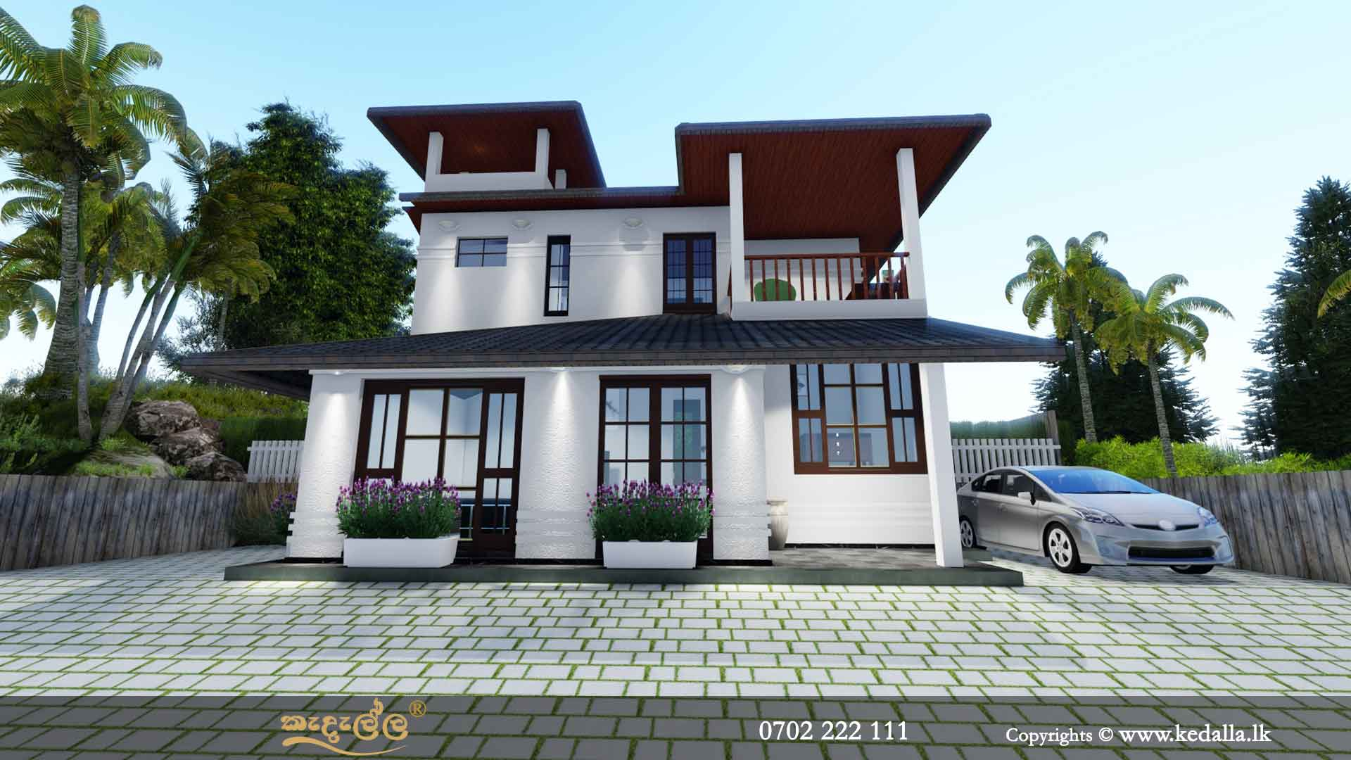 Leading architects in Kandy Sri Lanka designed classic two story house plan with large two balconies
