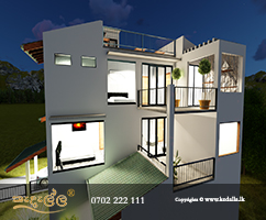 Best Leading Architectural Firm in Kandy Sri Lanka designed very steep sloped three story house plan