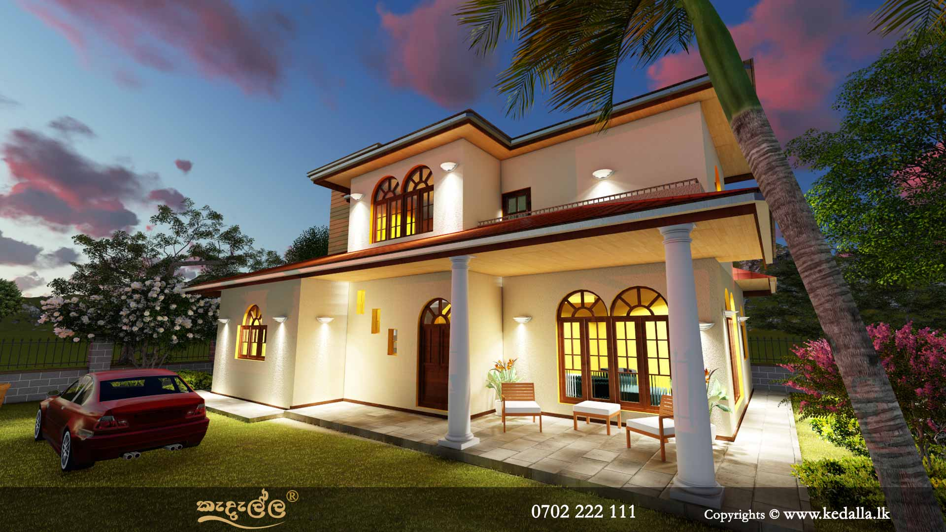 Top architect in Kandy designed roof type traditional two story house plan with beautiful open verandah