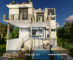 Guest house plan with a lovely exterior look designed by house planners in Kandy Sri Lanka