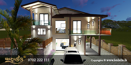 Top building planners in Kandy designed two level two story house plans for front sloping lot