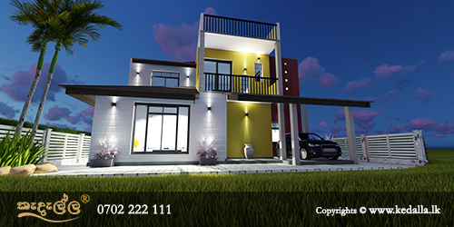 Best building designers in Kandy Sri Lanka designed elegant two story hillside up sloped house plans