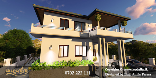 Home Planners in Kandy Sri Lanka designed annexed house with separate rear own entrance or staircase