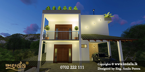 Sloped land house designers in kandy done home plans with extra storage space at basement