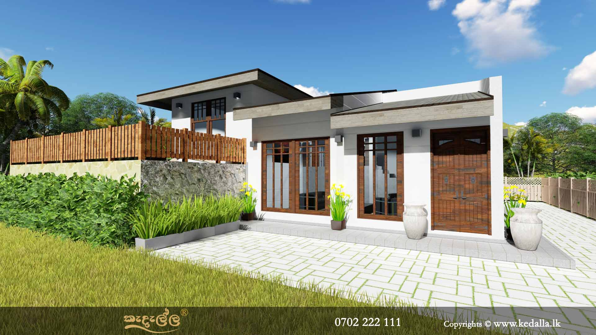 Small Home Plans Single Story With Regular Low Pitch Roof In Kandy, Sri  Lanka.